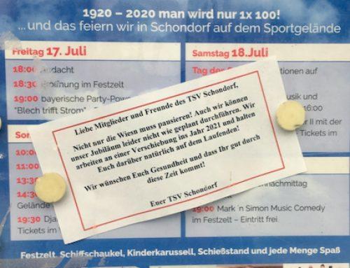 100 Jahre Jubiläumsfeier wird verschoben!