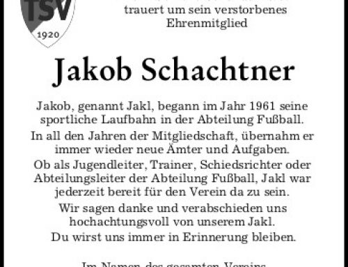 Nachruf Jakob Schachtner